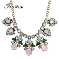 Collier Femme New Spring Color Jewelry Gold Chain with Colorful Rhinestone Flower Collar Choker Necklace For Women