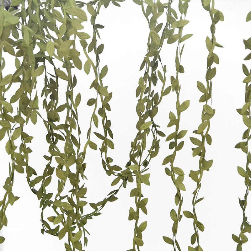 2 רולס (20m) ירוק עלים קש משי עלה מלאכותי DIY זר זר חתונה קישוט מתנת רעיונות קרפט מזויף פרח
