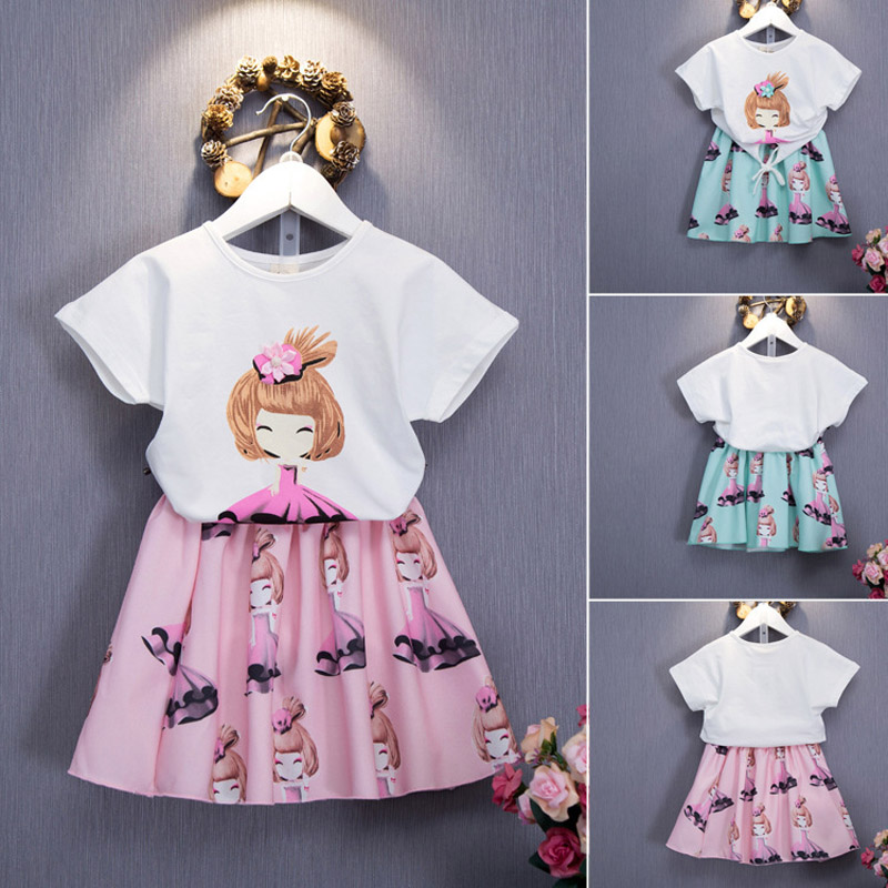 Toddle Girls Clothes New Summer Fashion Style Cartoon Dolls Printed T-Shirts+tutu Skirt 2Pcs clothing sets Baby Girls Suits