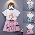 Girls Clothing Sets New Summer Fashion Style Cartoon Dolls Printed T-Shirts+tutu Skirt 2Pcs clothing sets Baby Girls Suits