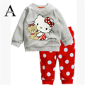 Aercourm A 2017 Spring Autumn Of the New Girl Child KT Cat Loose Long-sleeved + Dot Pants Home Service Child Suits Girls Clothes
