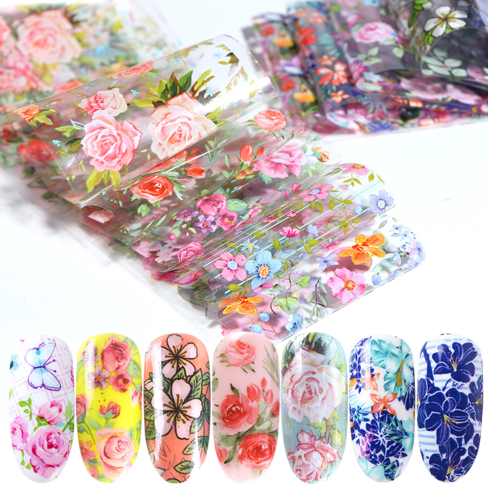 10pcs Nail Foil Polish Stickers Mix Rose Flower Transfer Foil Nails Decal Sliders For Nail Art Decoration Manicure Designs JI787(China)