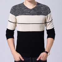 maomaoleyenda Men's Sweater 2018 Autumn New Fashion V Neck Sweater Men Striped Pullover Sweaters Casual Knitting Shirt Slimfit