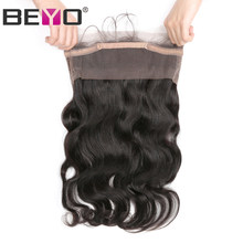 Beyo Hair Pre Plucked 360 Lace Frontal Closure With Baby Hair Brazilian Body Wave Closure Free Part Non Remy Human Hair Bundles(China)