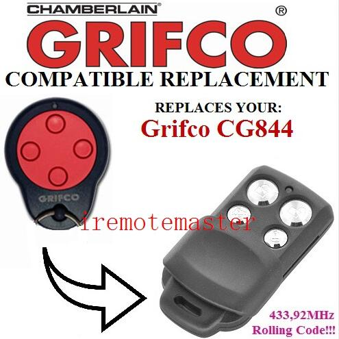 Top quality! For Grifco CG844 replacement remote garage door opener/transmitter Rolling code 433.92mhz after market doorhan remote doorhan garage door remote replacement rolling code top quality