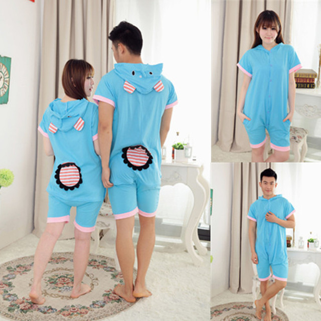 83c15b46f9 Wholesale Summer Animal Onesies Cartoon Unisex Adult Blue Elephant Onesie  Cosplay Costume Cotton Sleepwear Pajamas Sets