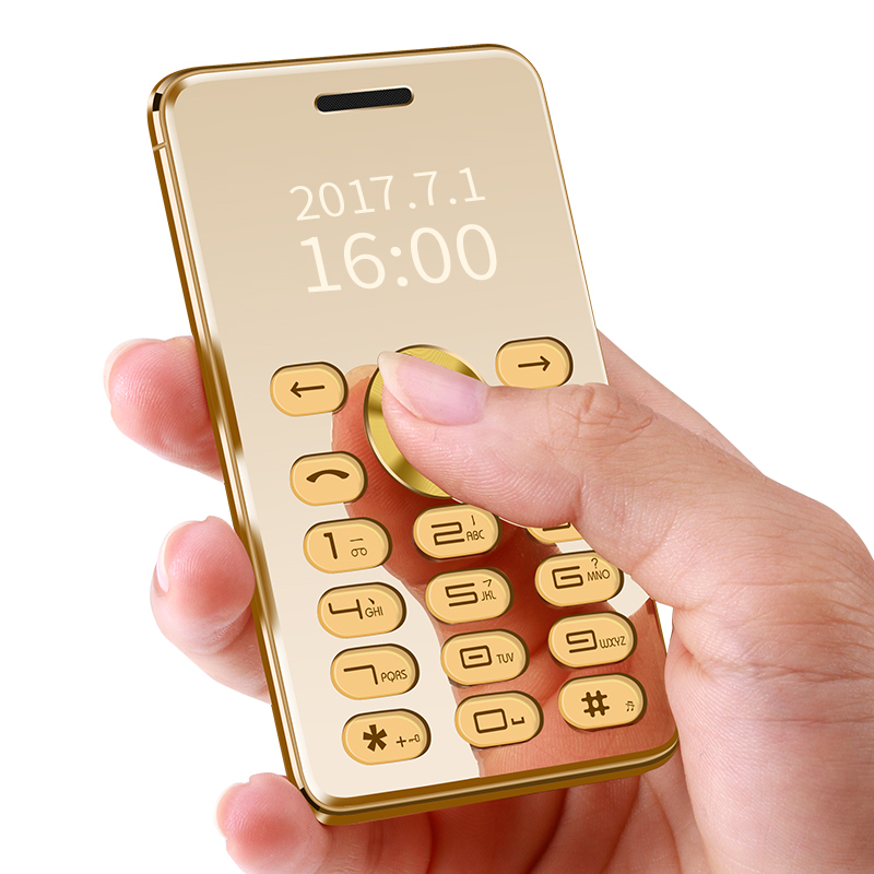 MAFAM C555B MP3 FM Radio Bluetooth Dual Sim Cards Mini Phone Super Ultrathin Card Luxury 1.3 inch Metal Body