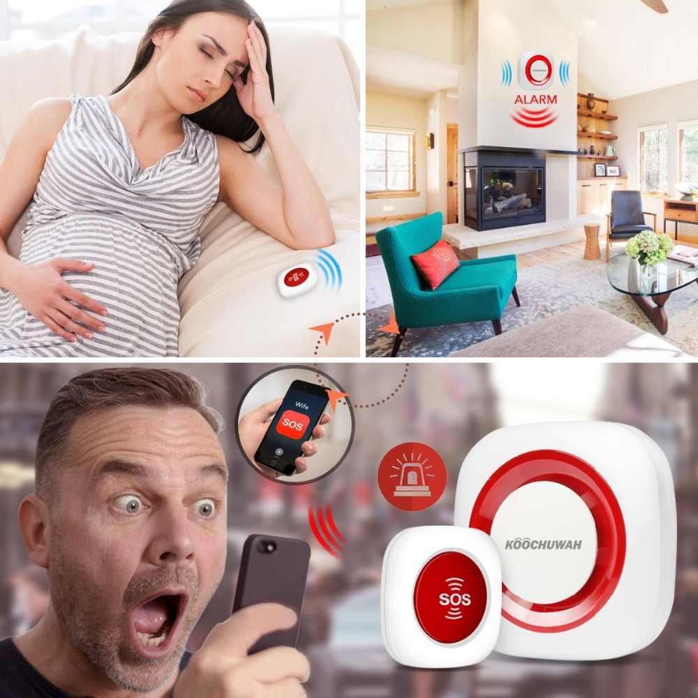Gsm Alarm SOS Panic Button Kit Auto Call & SMS Panggilan Darurat SOS Panic Alarm untuk Orang Tua/Penyandang Cacat/Senior Alarm