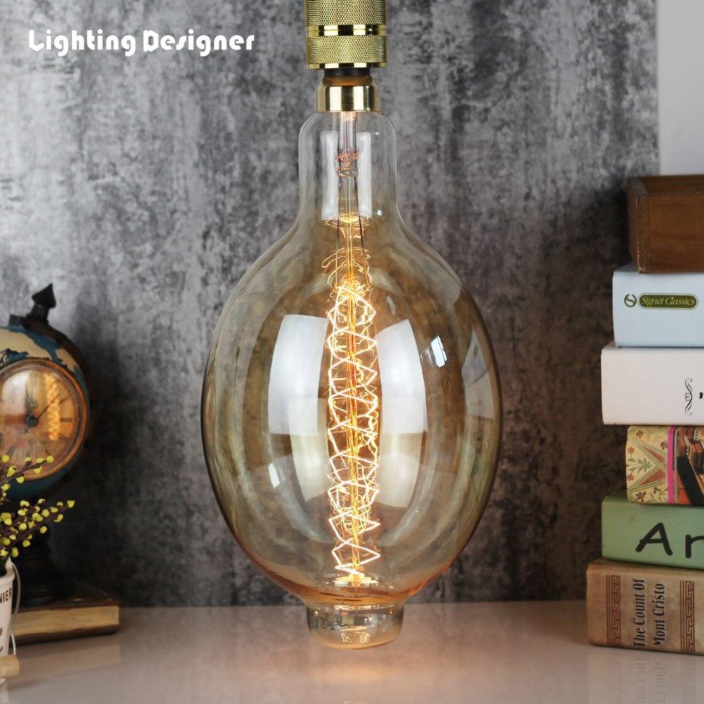 Grande taille BT180 vintage edison ampoule à incandescence ampoule décorative E27 220 v 60 w Filament antique rétro Edison lampe
