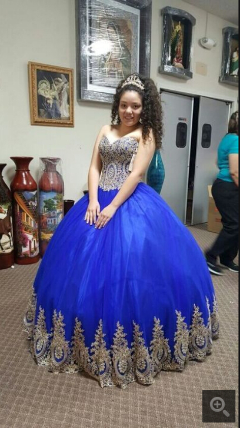 2019 Robe De Soiree Royal Blue Ball Gown Prom Dress Strapless Sweetheart Neckline Gold Lace Appliques Beaded Prom Gowns Hot Sale