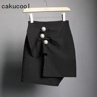 Cakucool Summer Spring Mini Skirts Pearl Buttons 3D Pleated Ruffles Asymmetrical Design Pencil Skirts Slim Sheath Bodycon Skirt