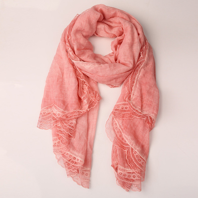 2016 Spanish Style Cotton and Linen Solid Color Lace Scarf Stitching Scarf Linen Lace Autumn and Winter Fashion Shawl and Hijabs