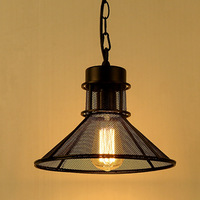Loft Style Dia 29cm Pendant Light For Study Room Black Vintage Industrial Lighting American Country Style