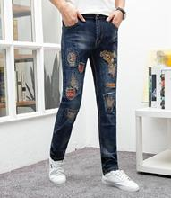 2019 Men Jeans Stretchy Ripped Skinny Biker Embroidery Print Destroyed Hole Slim Fit Denim Trousers Scratched High Quality Jeans цена в Москве и Питере