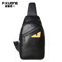 Cartoon Small Monster Design Single Shoulder Cow Leather Genuine Leather Messenger Crossbody Shoulder Bag P750701 B