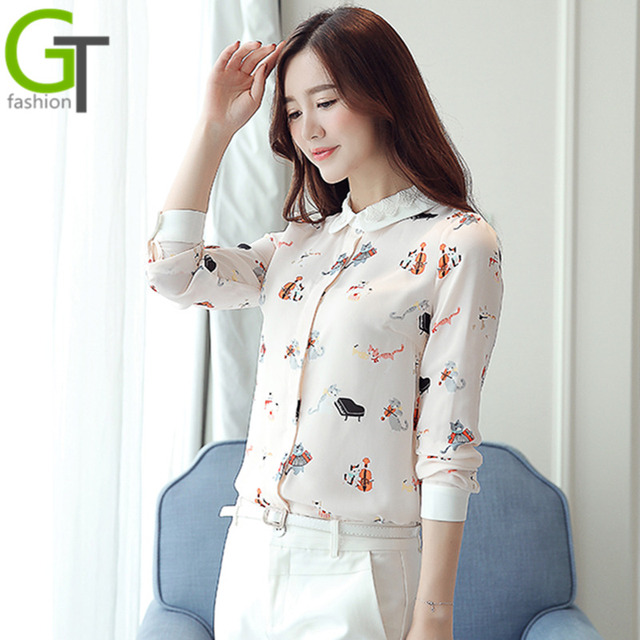 Cute Cat Printed Peter pan Collar Blusa Feminino 2016 Spring Vintage Blouse Long Sleeve Shirt Women Tops Tees Chemise Femme