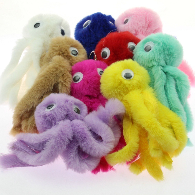 Cute Octopus Keychain Pompom Avengers Key Chains As Jewelry Fur Ball Key Chain Fluffy <font><b>Pom</b></font> <font><b>Pom</b></font> <font><b>Keyring</b></font> For Women Car Bag Key Ring image