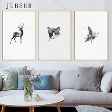 Nordic Minimalist Art Poster Deer Decorative Painting Cat Wall Art Picture Bird Black And White Simple Animal Canvas Prints