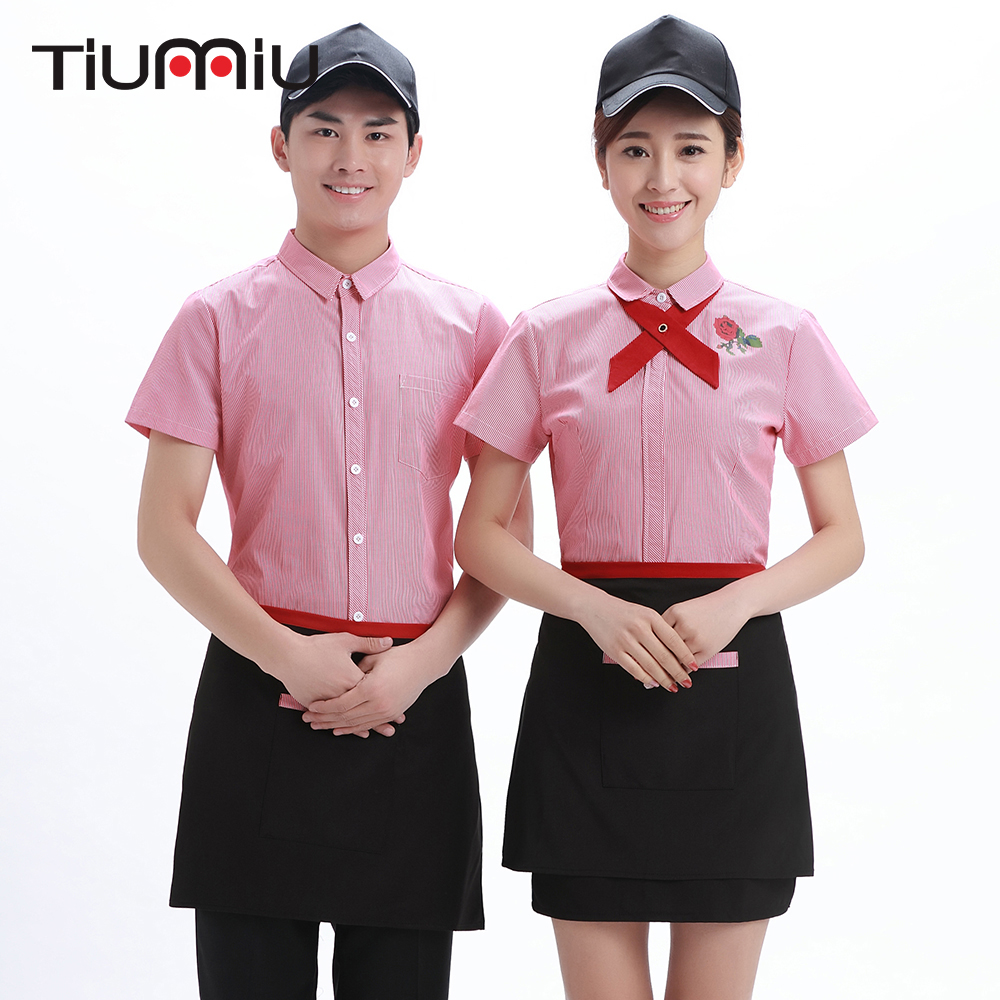 2018 Summer New Stripe Waiter Uniform Summer Short-sleeve Jacket Western Restaurant Hotel Cafe Shops Waitress Food Service Shirt