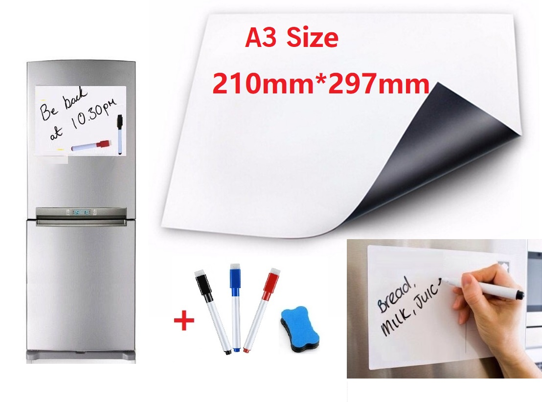 A3 Size Magnetic Whiteboard For Fridge Marker Pens Eraser Flexible Vinyl Home Office Kitchen Magnet Erasable Board White Boards