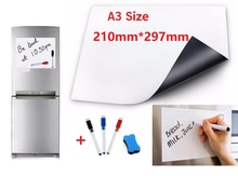 Купить с кэшбэком A3 Size Magnetic Whiteboard for Fridge Marker Pens Eraser Flexible Vinyl Home Office Kitchen Magnet Erasable Board White Boards