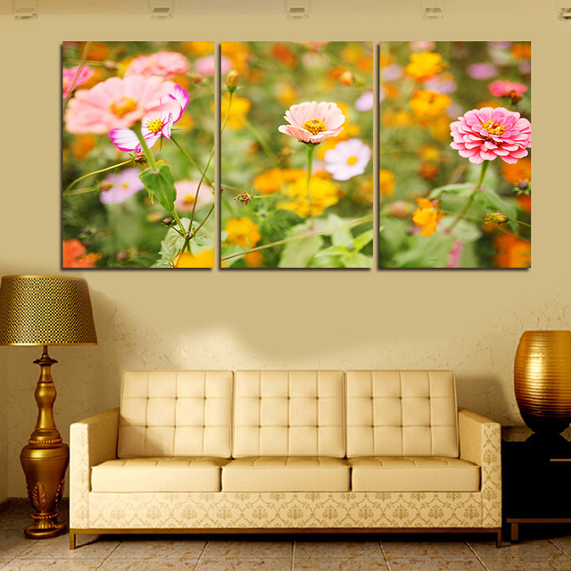 Hot Sale Nice 3 Panels Pink Flowers Large HD Canvas Print Oil ...