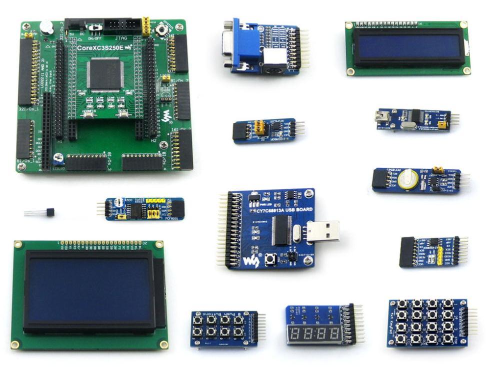 module XILINX XC3S250E Spartan-3E FPGA Development Board + LCD1602 + LCD12864 + 12 Modules = Open3S250E Package B fpga jtag open3s500e standard xc3s500e spartan 3e xilinx fpga evaluation development board xc3s500e core kit