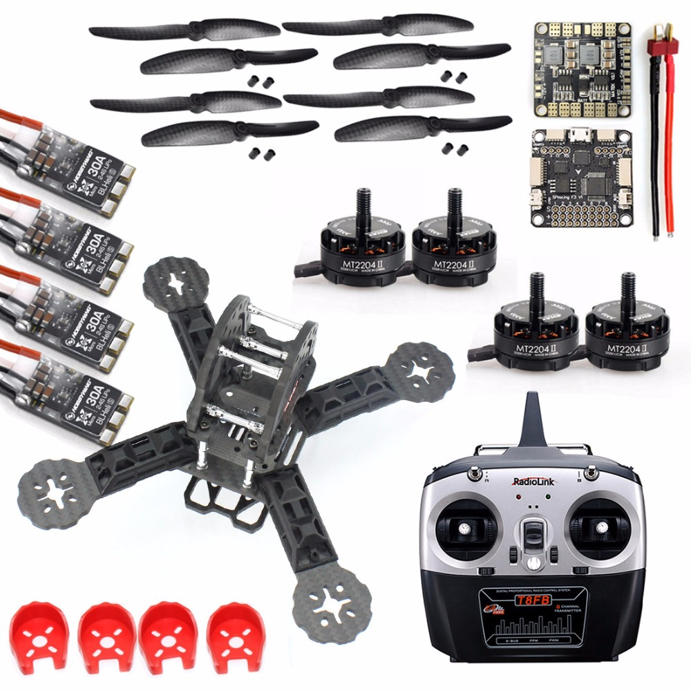 DIY Toys RC FPV Drone Mini Racer Quadcopter Kit 190mm SP Racing F3 Deluxe Flight Controller RadioLink T8FB Remote Controller diy mini drone flight control kit sp racing f3 mini m8n gps cf osd holder for qav250 robocat270 nighthawk 250 quadcopter
