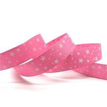 5 ярдов/партия 5/8 »(мм 15 мм) ярко розовый печати звезда Grosgrain ленты волос вечерние лук партии Рождество Свадебные украшения DIY Вышивание Craft