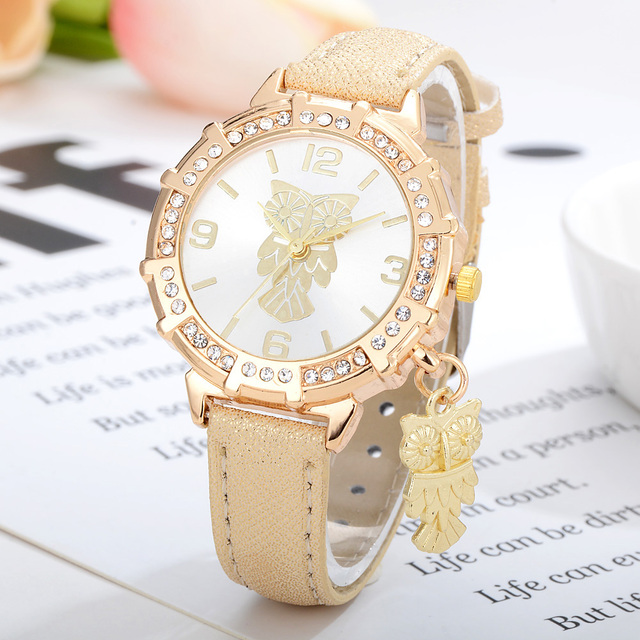 Gold Ladies Leather Band Watches Women Luxury Brand Crystal Gold Simple Owl Dres