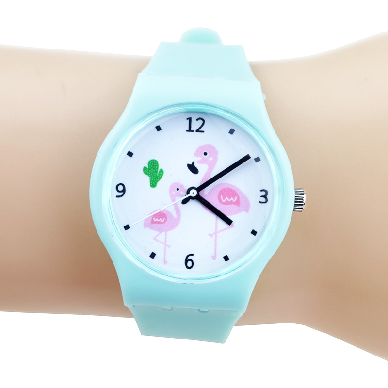 New Flamingo Children Watches Girl Silicone Candy Color Cartoon Rubber Strap Child Quartz Wristwatch Nina Reloj Nino Clocks