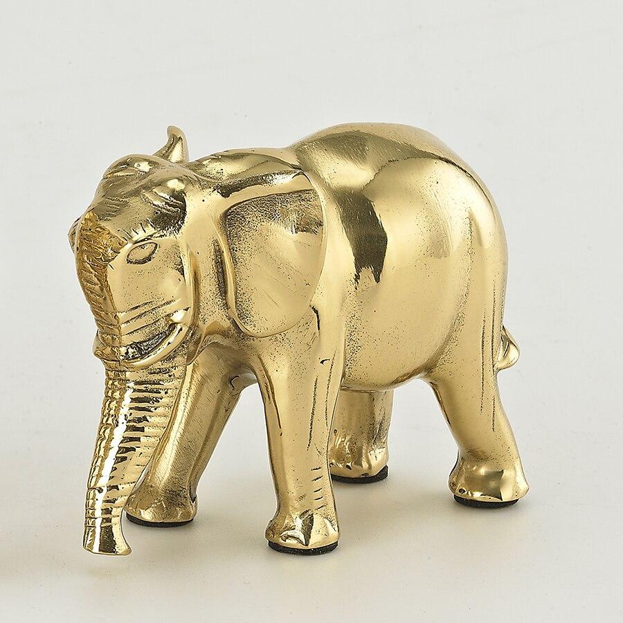 Brass Elephant Figurine Statue Feng Shui Sculpture Home ...
