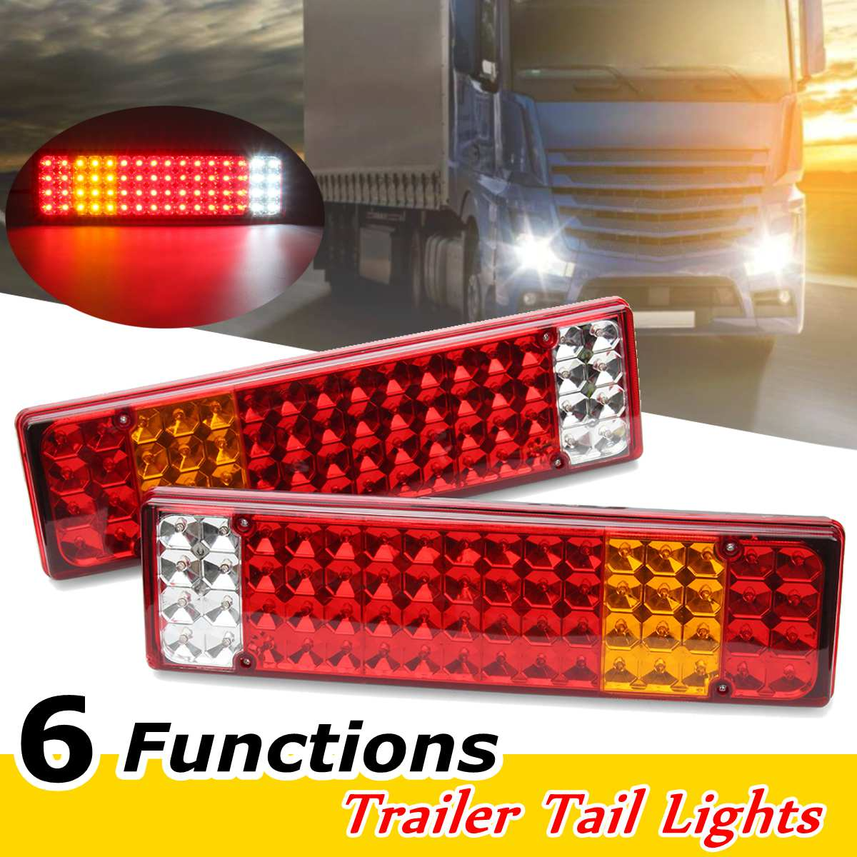 2pcs LED Rear Tail Lights Lamps 6 Functions For Scania -Mercedes Man Daf Ranault -Volvo Iveco 24V