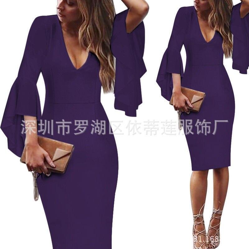 Сексуальные коктейльные платья с v-образным вырезом, Короткие вечерние платья с длинным рукавом, платье длиной до колена, коктейльное повседневное облегающее платье с оборками - Цвет: Purple