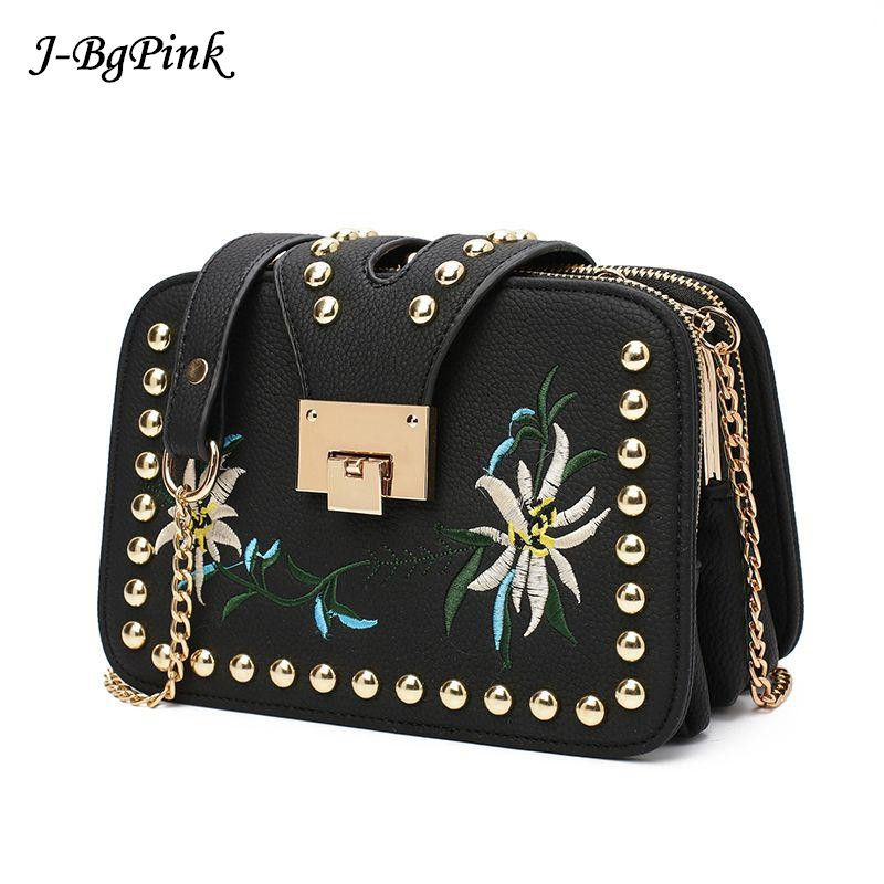 2018 Famous Brand Bag Women Embroidery Pu Leather Shoulder Bags Chains Crossbody Bags For Women Ladies Flap Messenger Bag