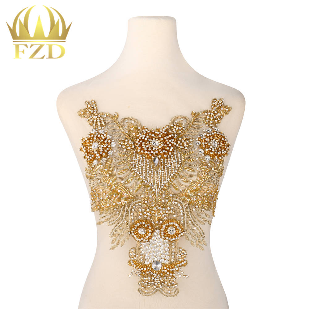 New Style Elegant Clear Crystal Stone Patches and Gold Rhinestone Crystal Pearls for Wedding Dresses DIY