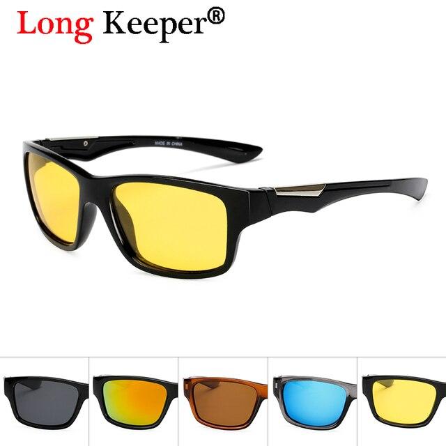 a1c01efed85d6d Nacht Rijveiligheid Spiegel Coating Anti-glare Bril Geel Nachtzicht Mens Gepolariseerde  Zonnebril Vierkante UV400 Lange