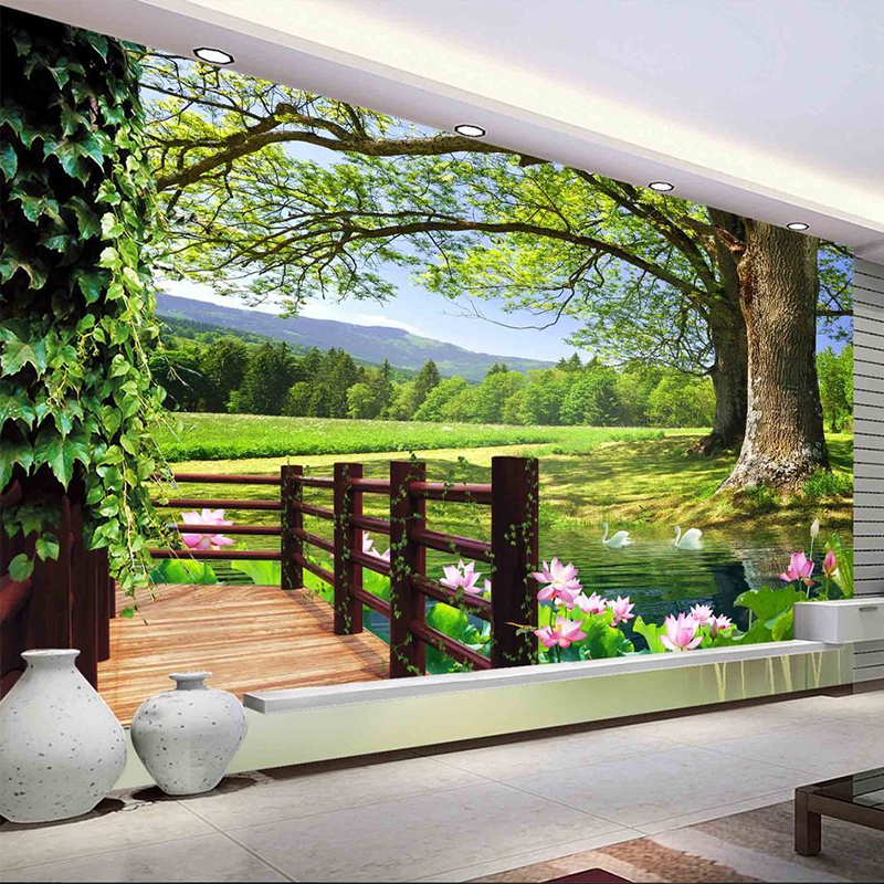 Custom 3D Photo Wallpaper Countryside Scenery For Walls Tall Trees Pool Lotus Wall Mural Photo Wall Paper Living Room Wall Decor