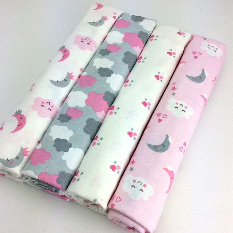 Dropshipping 100x76cm 4pcs/pack 100%Cotton Flannel Baby Bedding Cartoon Baby Bedding Newborn Baby Bed Sheets