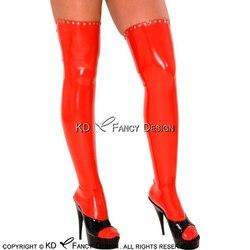 Rosso Lungo Sexy In Lattice Calze e Autoreggenti Con La Chiusura Lampo Alla Parte Posteriore E Rivetti In Gomma Alta Della Coscia Calza WZ-0042