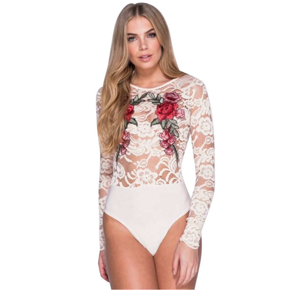Woman Sexy Mesh Flower Embroidery Bodysuits Lady European Fashion Sexy Lace Hollow Out Rompers Short Club Beach Jumpsuits