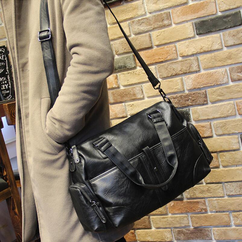 2018 Men Black Briefcase Business Shoulder Crossbody Bag Leather Messenger Bags Computer Laptop Handbag Bag Men's Travel Bags augur men s messenger bag multifunction canvas leather crossbody bag men military army vintage large shoulder bag travel bags