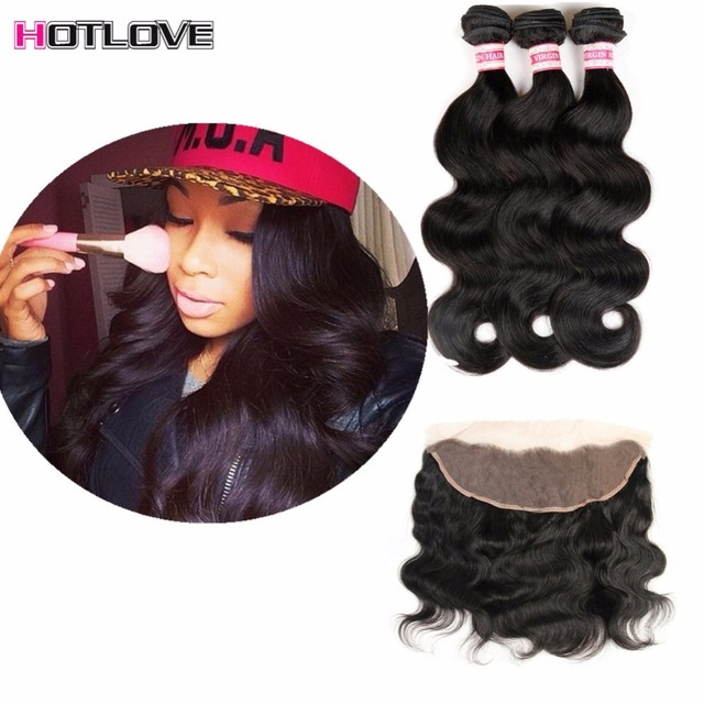 8A Full Frontal Lace Closure 13x4 With Bundles Peruvian Virgin Hair Body Wave With Closure Ms Lula Hair With Frontal And Bundles