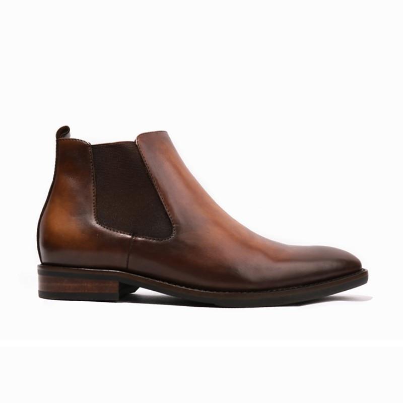 Resbalón Alta Vintage Seguridad Zapatos Trabajo De Vestir Oficina Real Botas Del Lujo Cuadrado Dedo Italiano Cuero Chelsea 1 2 En Pie Mocasines wqIgarw