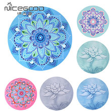 Little Round Meditation Yoga Mat Printed 1mm Sude Natural Rubber Ultralight Portable Foldable Yoga Cushion With Storage Bag(China)