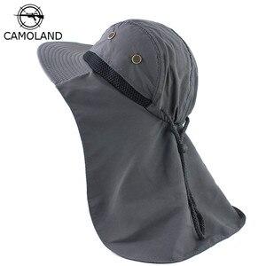 Image 1 - Sonbahar güneş şapkası erkek kadın kepçe şapkalı boyunluk açık UV koruma geniş geniş Brim yürüyüş balıkçılık örgü nefes kap