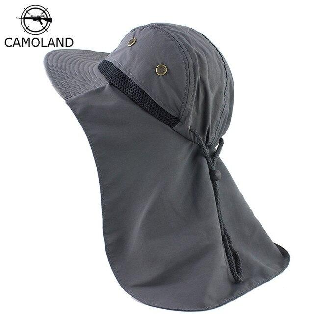 Sonbahar güneş şapkası erkek kadın kepçe şapkalı boyunluk açık UV koruma geniş geniş Brim yürüyüş balıkçılık örgü nefes kap