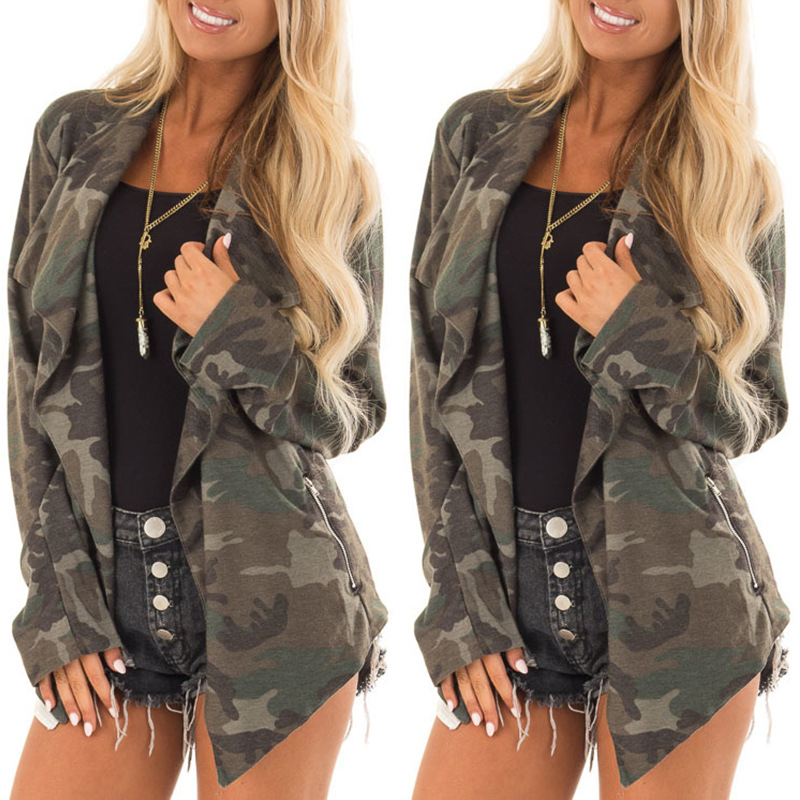 S XL autumn spring winter denim jacket casual leisure long sleeve camouflage coat tops in Jackets from Women 39 s Clothing