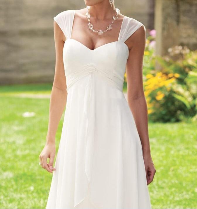2016 summer cap sleeve empire waist short chiffon casual for Short casual beach wedding dresses
