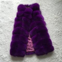 Silver Real Fox Fur New 2015 Fashion Whole Skin Fox Real Fur Vest Long Women Winter Jacket Genuine Natural Fur Vests Female Mex
